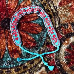 Free People Teal Red Floral Embroidered Belt Strap
